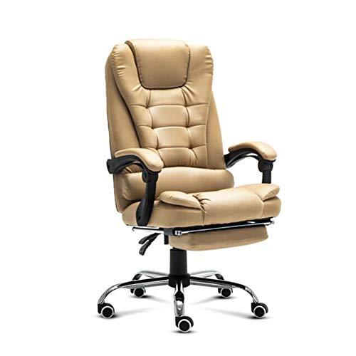 XUERUI Lehnstühle Stuhl Ergonomisch Büro Leder Drehstuhl Mit 77cm Hoher Rücken Großer Sitz Armlehne Computertisch Executive Möbel (Farbe : Brown 1, größe : with footrest) -