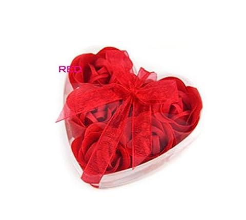 Liroyal 6 Pcs Bathing Shower Off White Rose Flower Bath Soap Petals w Heart Shaped Box