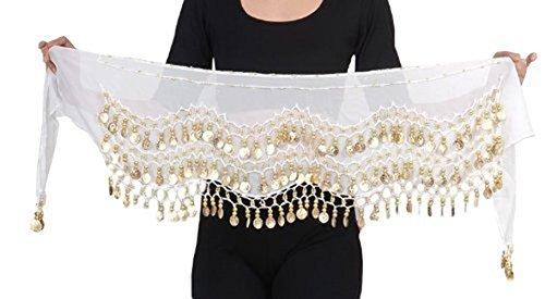 Kostüme Bauchtanz Amazon (Belly Dance Bauchtanz Hüfttuch Kostüm 128 goldfarbenen Münzen Münzgürtel Gürtel in weiß)