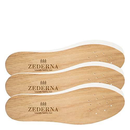 Original Zederna Zedernholzsohlen & Einlegesohlen für natürlich trockene Füße. Zedernsohlen gegen Fußgeruch, Fußpilz und Nagelpilz. Stoppt Schweißfüße. Beste Frischesohlen & Barfußsohlen. 3er Pack, 43 EU