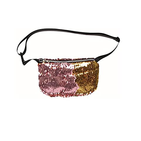 Kingko® Women's Cool Double Color Sequins Zipper Closure Waist Bag Casual Outdoor Sports Chest Bags (B)