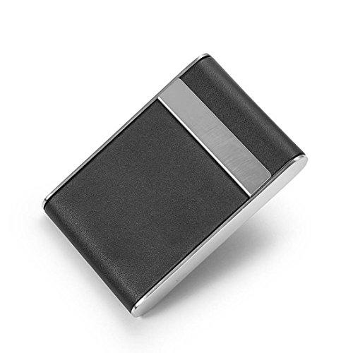 ADESHOP Schwarze Tasche Leder Tabak Cafarette Kartenhalter Aufbewahrungsbox Box Container (A) A