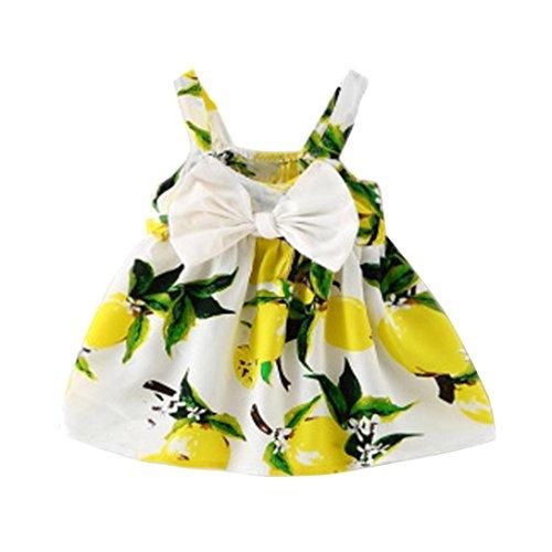 WOCACHI Baby Mädchen Kleider Nette Frucht gedruckt Säugling Outfit ärmellose Bowknot Prinzessin Gallus Kleid (Age: 6-12M, Gelb)