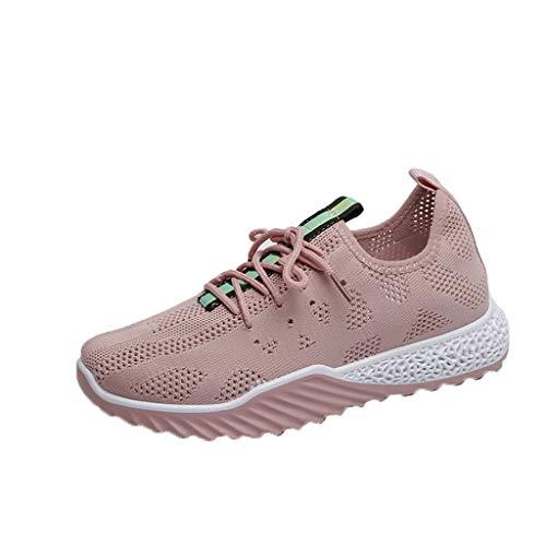 Damen Laufschuhe Turnschuhe Atmungsaktiv Fashion Sportschuhe Running Fitness Trainers Sneakers Verschleißfeste Stoßdämpfung Wanderschuhe 3D Mesh Outdoor Fitnessschuhe (EU:38, Rosa)