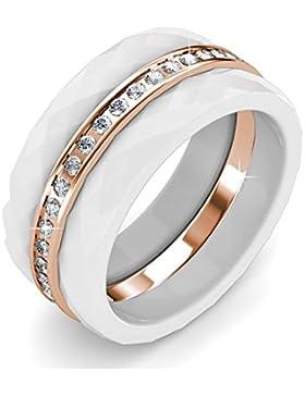 fappac 18ct Rose Vergoldet Kristallen von 3stapelbare Ring Angereichert mit Swarovski-Kristallen–5