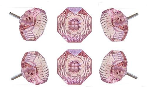 Set von 6Adore Glas Cabinet Schublade Schrank Knopf, Pink Dresser Pull von trinca Ferro