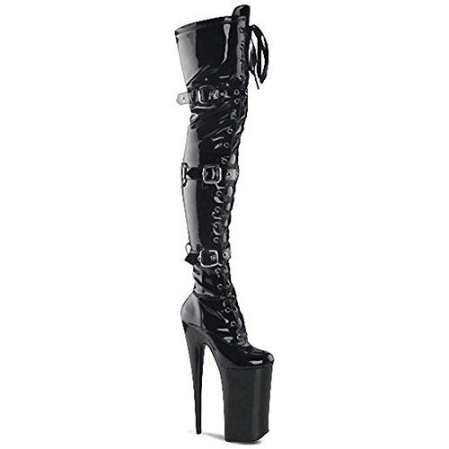 Frauen Lange Stiefel High Heels Über Knie Modell Schnalle Leder Super Nachtclub Pole Dance Performance Schuhe . Black1 . 46