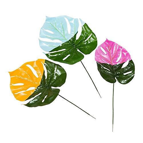 Fiesta; Lackierte dekorative Laubblätter für Geburtstage und Sommerpartys, Pink, Blau und Orange (3 pro Pack) ()