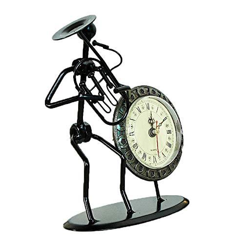 SMAQZ Musik Iron Man, Musik Clock, Clock Crafts Dekoration Oben Links Runde 15 * 7 * 19Cm Vega Crystal Clock