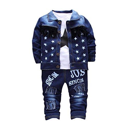 Outfits Set Janly 0-3 Jahre alt Baby Jungen Denim Kleidung Anzüge mit Infant Girls Star Tops Mantel Buchstaben Hosen (0-1 Jahre alt, Blau)