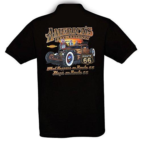 Highway Route 66 Hot Rod (Ethno Designs - Americas Highway 66 - Hot Rod Polo Shirt für Herren - Old School Rockabilly Retro Style - regular fit, black, Größe XXL)