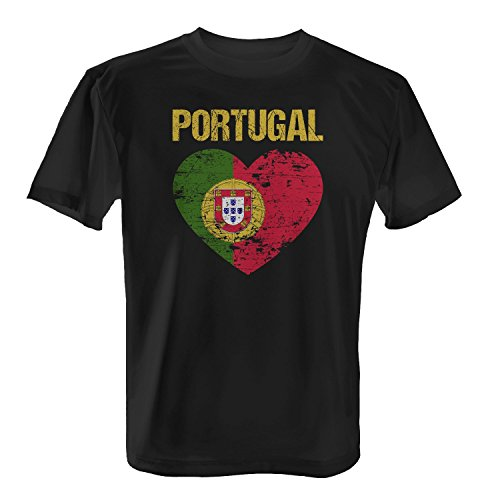 Fashionalarm Herren T-Shirt - Portugal Herz Flagge | 2018 Fan Shirt Trikot Fußball Weltmeisterschaft WM, Farbe:Schwarz;Größe:XL
