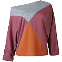 Mujeres Tops Rovinci Las Mujeres cómodas Ocasionales de la Manera sin Tirantes de Manga Larga Patchwork Camiseta Blusa Pullover Sudadera S-XL