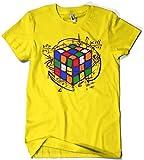 Camisetas La Colmena 4189-Rubikcube (XXL, Amarillo)
