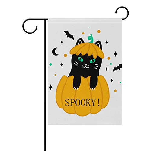 LINDATOP Halloween Katze Hintergrund Garten Flagge 30,5 x 45,7 cm doppelseitig Yard Dekoration Polyester Outddor Flagge Home Party, Polyester, Multi, 12x18(in)