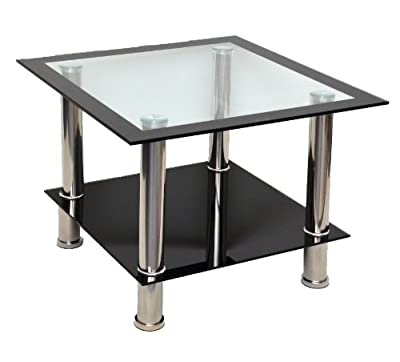 Glass coffee table corner table coffee table black with stainless steel and 8 mm Tempered safety glass