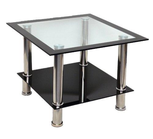 Ts-ideen Table d'appoint - Table basse - Table de salon en verre trempé de sécurité 8 mm Noir + pieds acier