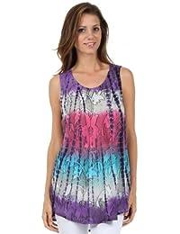 5956c46db3cf27 Sakkas 40831 Ombre Floral Tie Dye Flared Hem Sleeveless Rayon Tunic Blouse  - Purple One