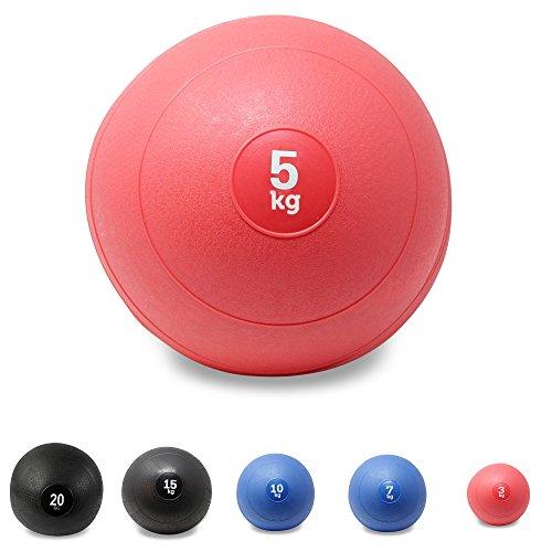 Slam Ball Balón Medicinal 3 - 20 kg - Ideal para ejercicios de entrenamiento funcional - (5 kg / Rojo)