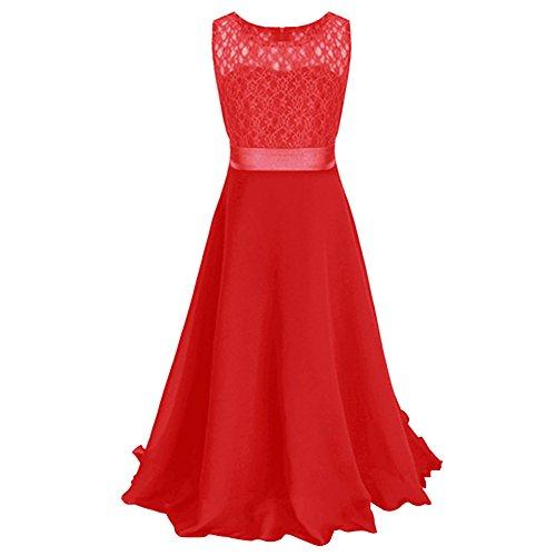 Free Fisher Mädchen Abendkleid Spitzenkleid Ärmellos, Rot, Gr.146( Herstellergröße: 150)