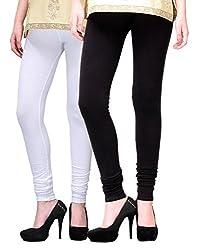 2Day Womens Cotton Churidaar Legging Black/White (Pack Of 2)