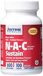 Jarrow Formulas, N-A-C Sustain, 600 mg, 100 comprimés bicouches