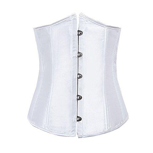 FeelinGirl Damen Unterbrustkorsett Satin Bauchweg Corsage Waist Cincher Top Tailenformer Dessous Weiß