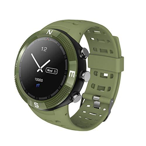 HHRONG Intelligente Uhr, Sportuhr mit Höhenmesser/Barometer/Thermometer, 1,3-Zoll-runder Hd-Tft-Farbbildschirm, wasserdichtes Ip68 mit Schlafmonitor-ArmyGreen (Gps-höhenmesser-barometer-uhr)