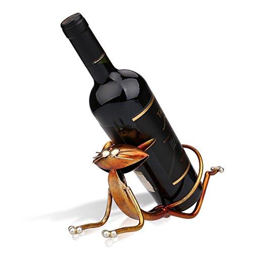 Tooarts Yoga Katze Weinflaschenhalter Getränkeflaschehalter Metall-Skulptur