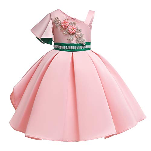 (ChenXi Shop Flower Girls Kids Floral Print Pageant Dress Flower Tulle Princess Formal Wedding Birthday Party Dress for Toddler Baby Girl(Pink,140))