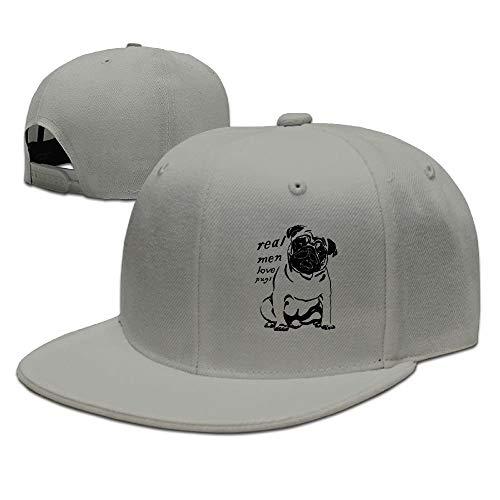 linranshangmao Wirkliche Mann Liebes Möpse Hundegeschenk Tierbaseballmütze Flache Rechnung -