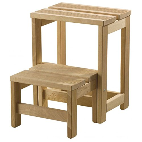 Escalera plegable, taburete 2 peldaños, escalera madera, Taburete Escalera 2 - sinbarniz