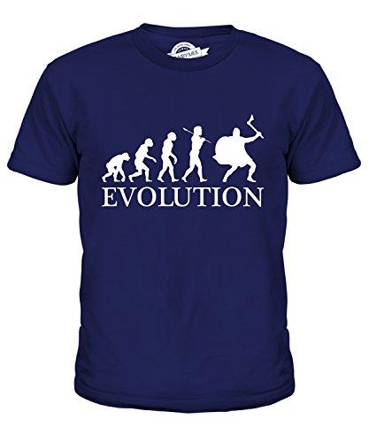 CandyMix Wikinger Evolution Des Menschen Unisex Jungen Mädchen T Shirt, Größe 6 Jahre, Farbe Navy Blau