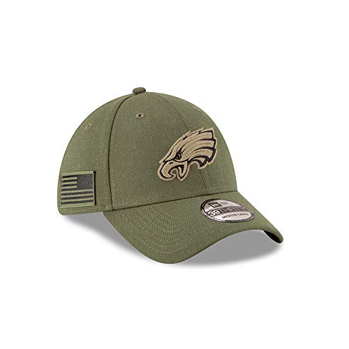 huge selection of 25a19 68f8a A NEW ERA Era Philadelphia Eagles 39thirty Stretch Cap On Field 2018 Salute  To Service Green