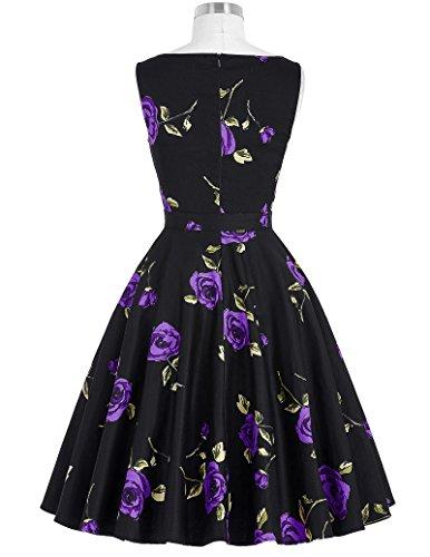 Belle Poque 50s Vintage Rockabilly Kleid Blumenkleid Partykleider Cocktailkleider GD000002 BP002-19