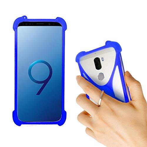 Lankashi Blau Silikon Schutz Tasche Hülle Case Ring Halter Ständ Cover Handy Etui Handyhülle Handytasche Für Gigaset GS100 GS160 GS270 GS370 HISENSE Infinity H12 Rock Archos Diamond Alpha Universal