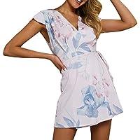 holitie- Vestido de Verano de Playa para Mujer, Floral, con Cuello en V y con Cordones, para Mujer Vestido de Verano