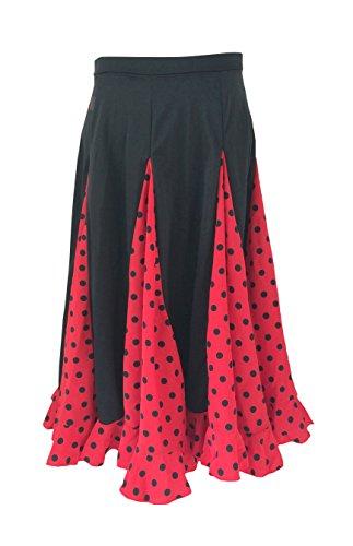 La Señorita Flamenco Rock Kinder Spanische Kleider rot mit schwarzen Punkten (rot schwarz, Größe 12, 140-146)