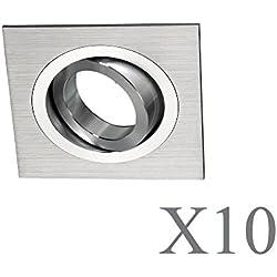 Wonderlamp Classic W-E000110 Pack de Focos Empotrables Cuadrados con Portalámparas GU10, Gris, 10 Unidades