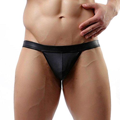Ropa interior Hombres Btruely Herren lencería Sexy Cuero Pantalones cortos Jockstrap Trunks...