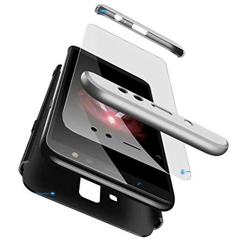 AILZH kompatibel für HandyHülle Samsung Galaxy A8 2018 Hülle+[Panzerglas] PC Hartschale 360 Grad Schutzhülle Anti-Schock Anti-Kratz Stoßfänger Bumper Cover Case Matt Schutzkasten(Silber schwarz)