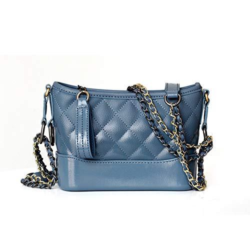 Womens Crossbody Taschen Leder Leichte Schulter Messenger Umhängetasche Wandering Bag Leder Weibliche Rhombische Kette Schulter Slung Paket,Blue