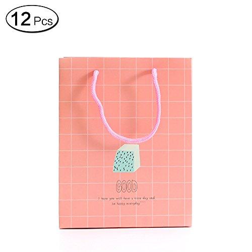 Jia HU 12kleine süße Papier Geschenk Beutel mit Griffen Verpackung Tasche Bulk für Tuch Craft Kosmetik rose