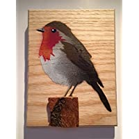 Robin Bird Stencil Artwork | Handmade Spray Painted Art | Anniversary Gift | Picture on Wood for Birthday or Fathers Day | Wife | for your Grandma | from Daughter or Son | 14 x 12 cm