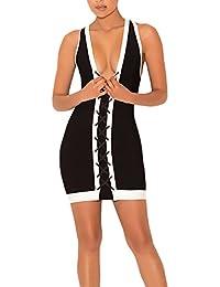 Vestidos De Mujer Vestidos De Fiesta Cortos Elegantes Sin Mangas Fiesta Dresses Señoras V Cuello Bandage