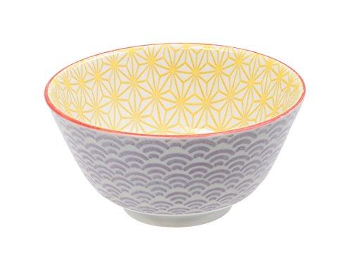 Tokio Design Studio Star Reis Wave Schale, Porzellan, Gelb/Violett, 12x 6,4cm Wave Rice Bowl