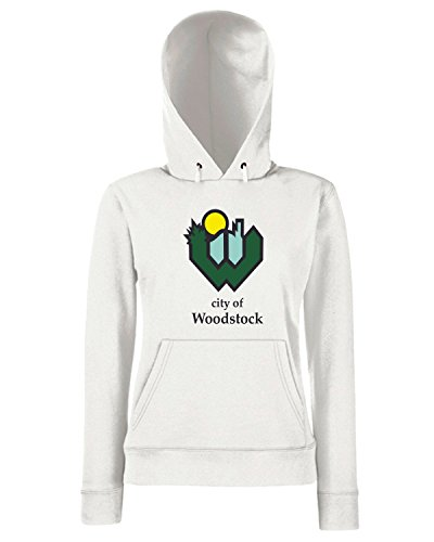 T-Shirtshock - Sweats a capuche Femme TM0067 City Of Woodstock citta Blanc