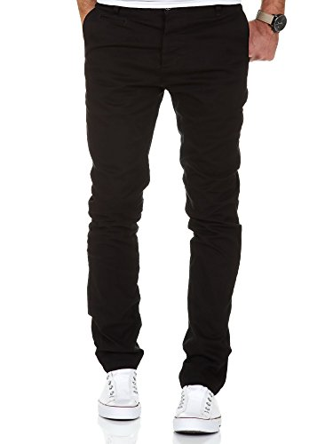 Amaci&Sons Herren Slim Fit Stretch Chino Hose Jeans 7100 Schwarz W34/L34