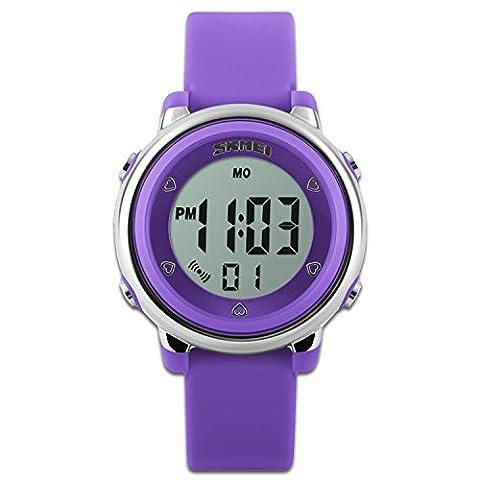 Pour enfants montres montre de sport avec chronomètre et 7rétro-éclairage LED Fonction Time Teacher Bleu et blanc et vert en silicone Sangle garçons filles