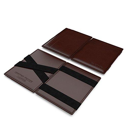 DARDON® Magic Wallet, portafoglio di design in pelle italiana, portafoglio alla moda stile vintage da uomo in vera pelle di vitello, portafoglio da viaggio in stile smart retrò con sistema anti-RFID, in pelle marrone scuro